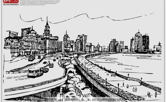 建筑素描 建筑速写 都市剪影 手绘建筑矢量图 现代建筑剪影 城市建筑
