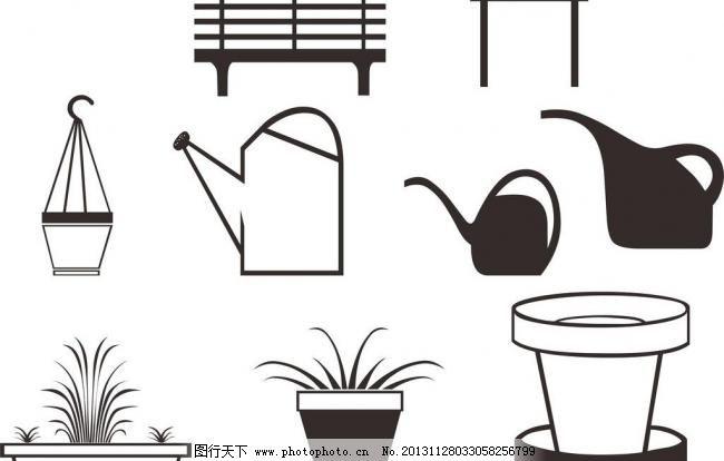盆栽 盆栽图片免费下载 剪影 浇水壶 其他矢量 矢量素材 植物