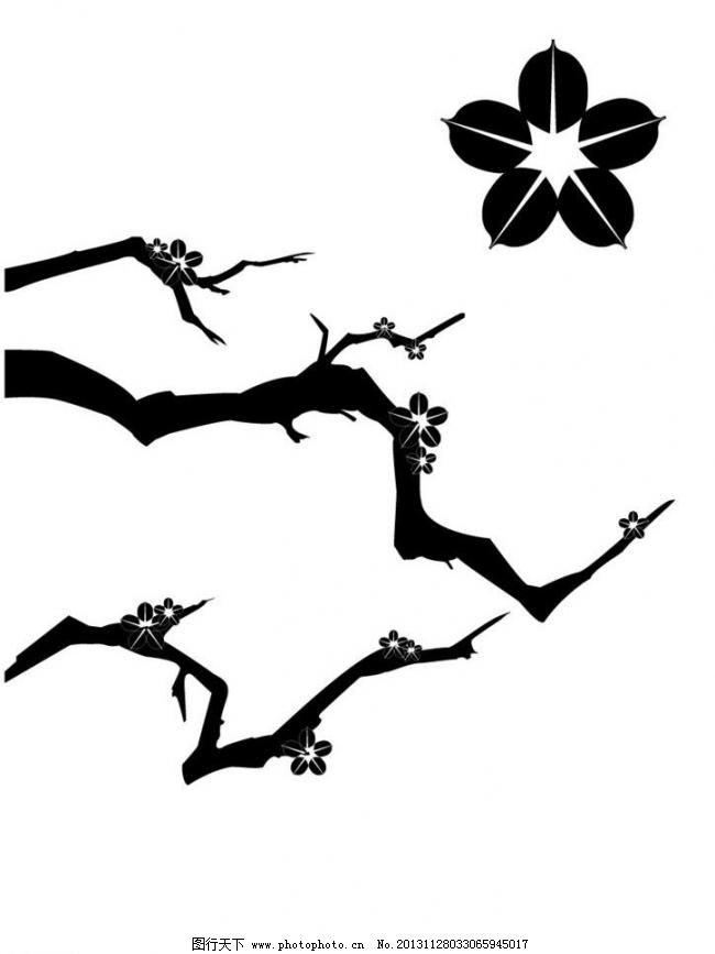 ai 广告设计 花 剪影 梅花 梅花矢量素材 设计 树 枝 梅花矢量素材