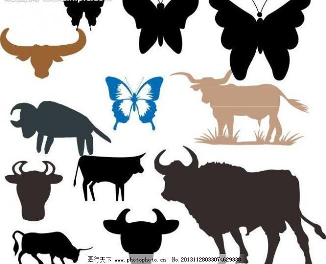 cdr 动物 动物剪影 动物世界 广告设计 海洋动物 蝴蝶 剪影 简笔画 牛