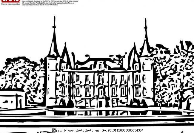 欧式建筑矢量图剪影