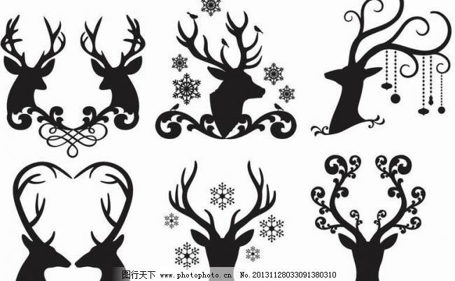 ai 爱心 动物主题 花纹 剪影 梅花鹿 设计 生物世界 小鹿 野生动物
