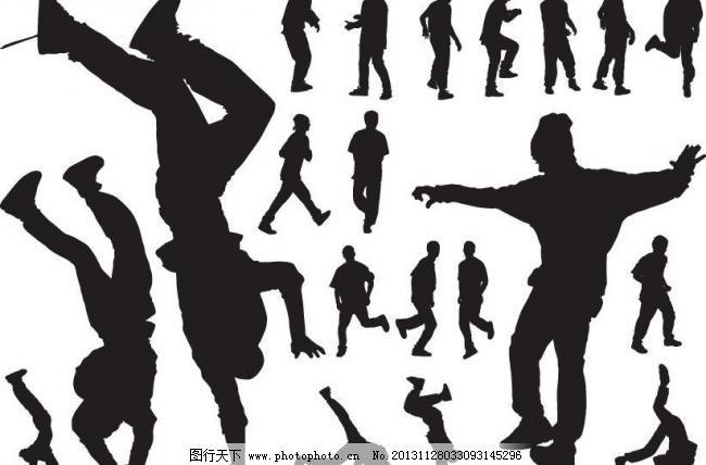 街舞人物剪影图片
