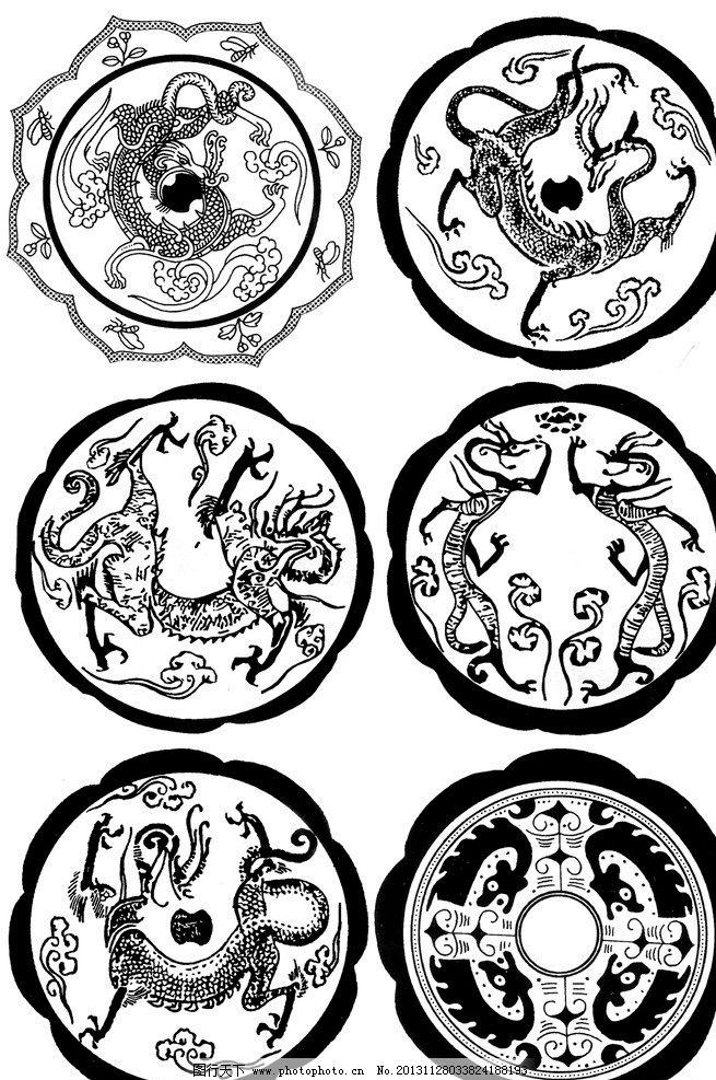 青铜龙凤 青铜器 纹样 纹饰 装饰 图案 圆形 对称 中国龙凤图案