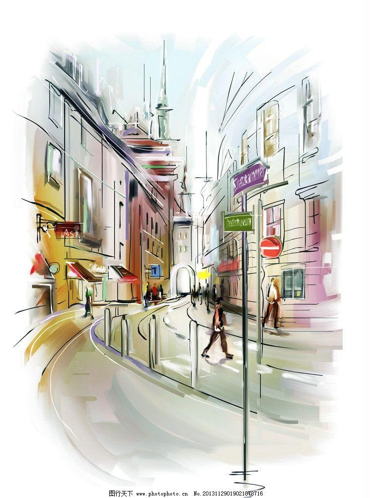 水墨城市风景图片
