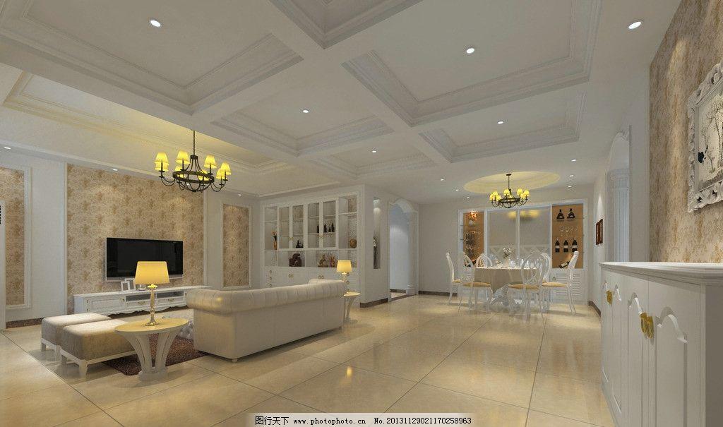 简欧客厅效果图             设计 简欧 自建房 3d作品 3d设计 72dpi