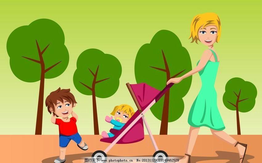 散步的妈妈孩子图片