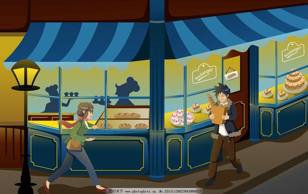 卡通人物 卡通背景 蛋糕店 相遇 手绘 矢量 其他人物 矢量人物