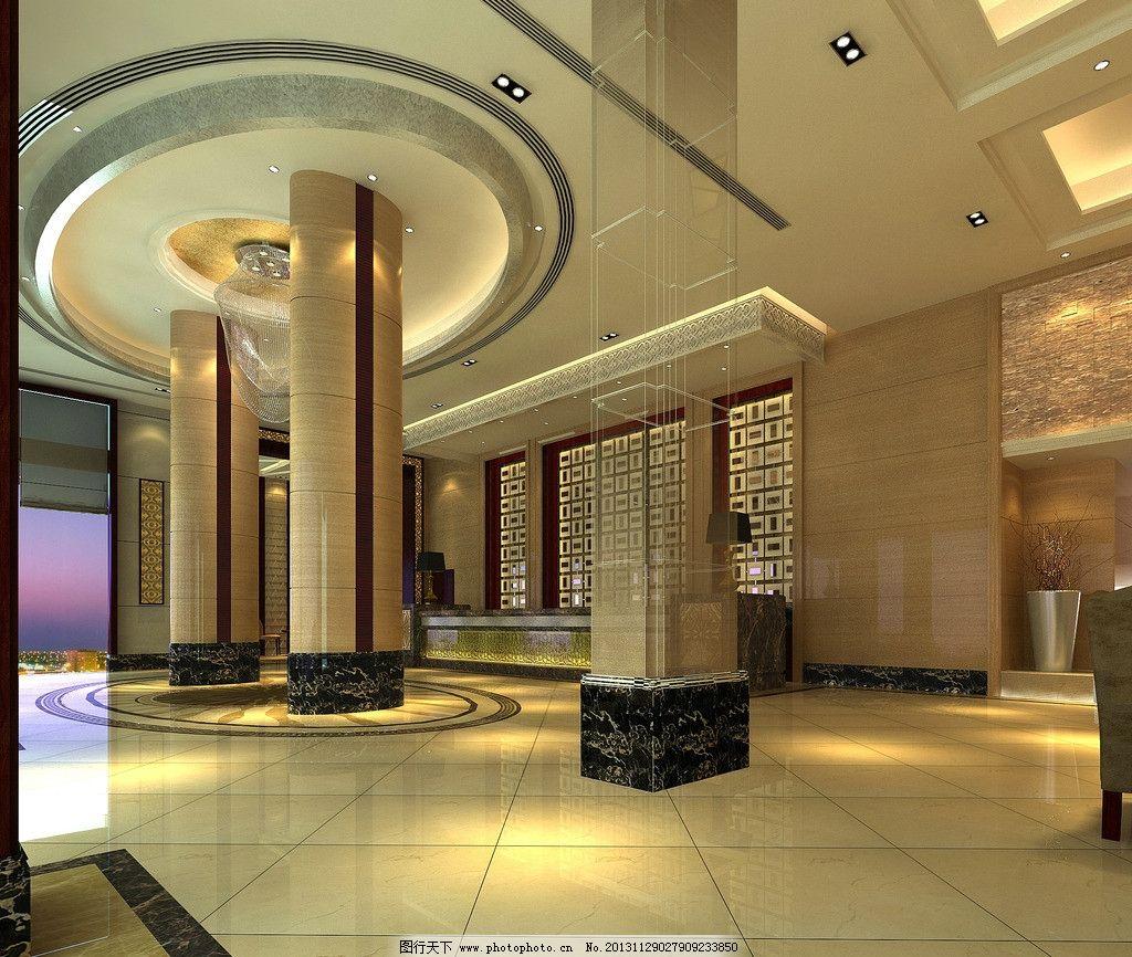 酒店大堂 酒店 大堂 吧台 中式 现代 室内设计 环境设计 设计 72dpi