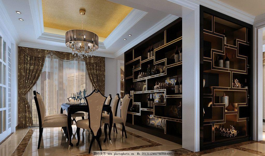 土豪金餐厅 带金色墙纸 玫瑰钢 茶镜 金铂纸 啡网大理石 室内设计