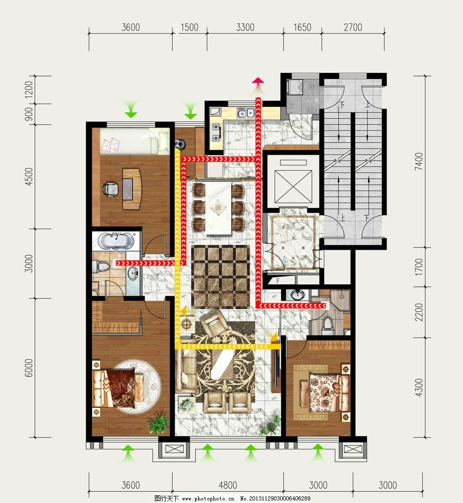 户型图 家具 室内 彩平 psd 地产户型图 海报设计 广告设计模板 源