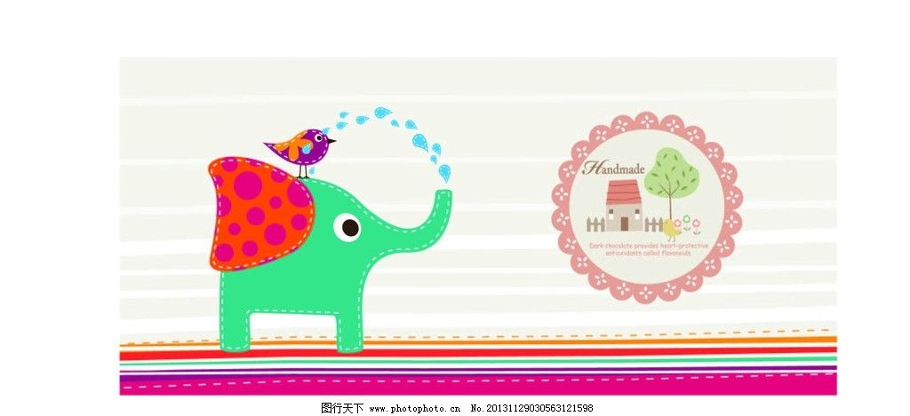 象与小鸟 卡通 布艺插画 大象 动物 彩绘喷水 矢量图 屋子 小树图片