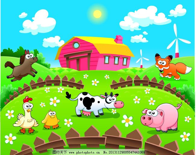 农场免费下载 房子 卡通 农场 小动物 农场 房子 小动物 卡通 矢量图