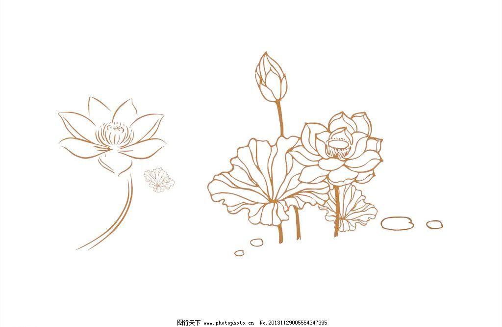 cdr 白描 工笔画 荷花 荷花模板下载 荷花矢量素材 荷叶 花蕾 莲 莲花