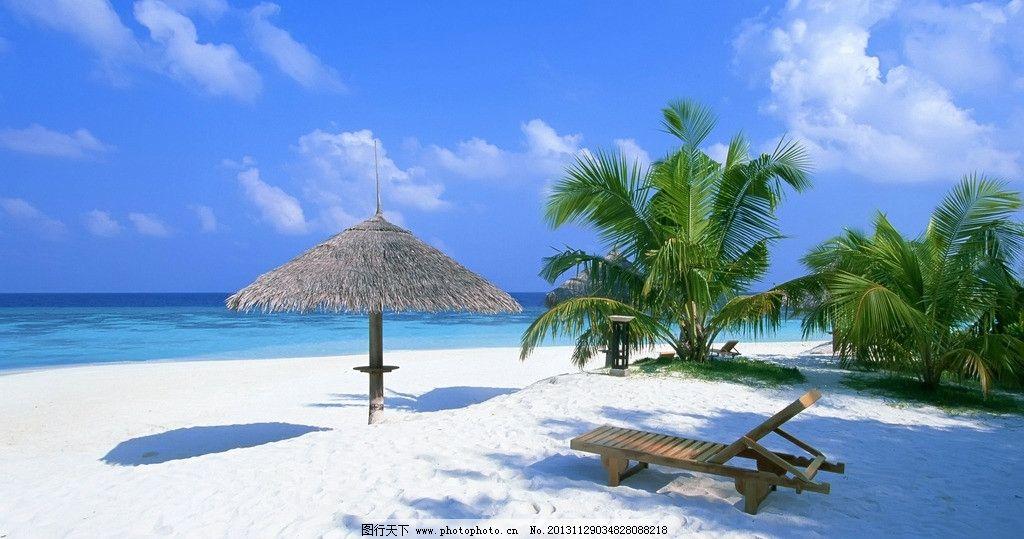 大海椰子樹沙灘 藍天 白云 風景 景觀 自然風景 自然景觀 攝影