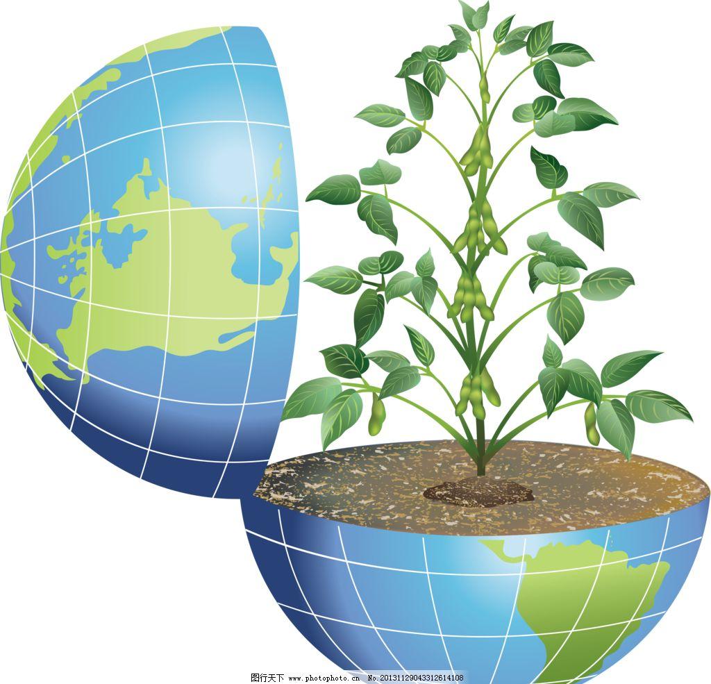 手绘地球 树苗 花苗 花盆 盆栽 地球 绿色 地球移门 地球图案 手绘