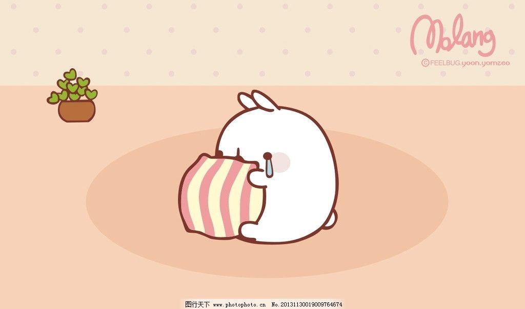 胖兔子 卡通 动物 韩国卡通 枕头 睡觉 卧室 矢量动漫 美术绘画