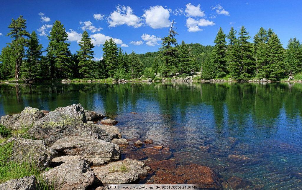 湖水大树石头 湖水 大树 石头 风景 蓝天 白云 山水风景 自然景观