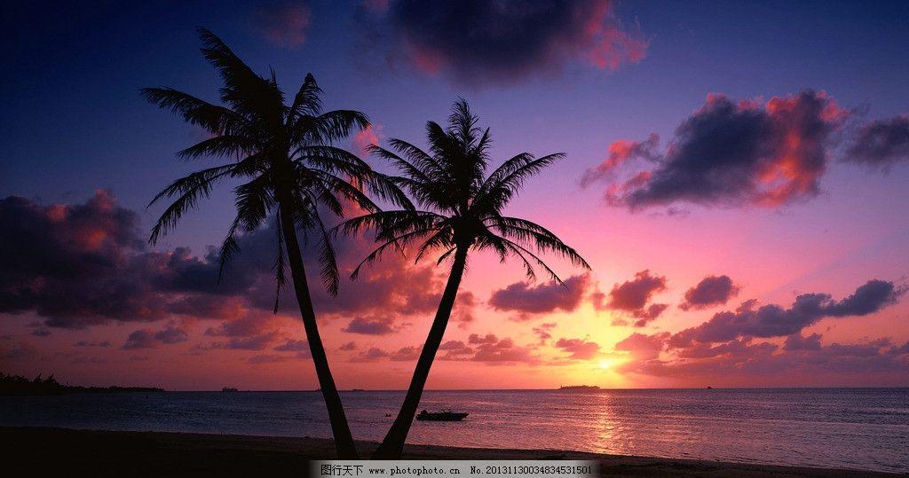 黄昏沙滩 黄昏 沙滩 海边 椰子树 夕阳 绚烂 背景 自然风景 自然景观