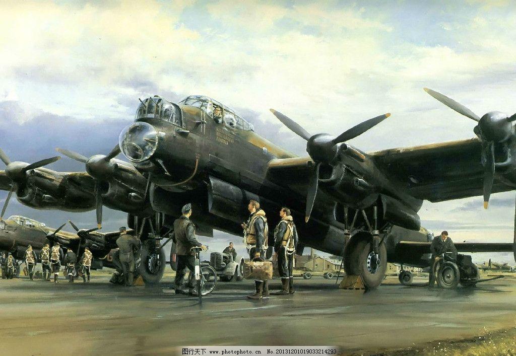 二战油画 二战 美军 飞机 美国 战略轰炸机 机场 远程轰炸机 绘画书法