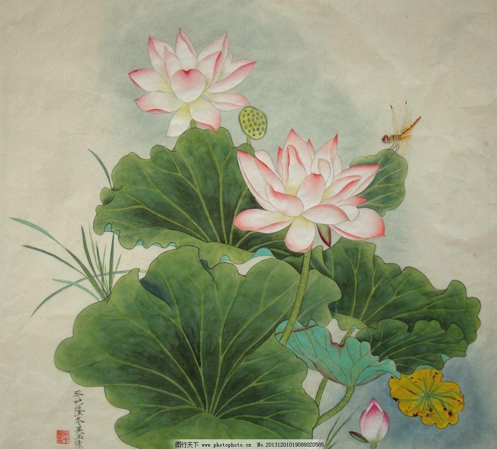 吴玉阳 工笔画 荷花 蜻蜓 工笔花鸟画 纸本 绘画书法 文化艺术 设计