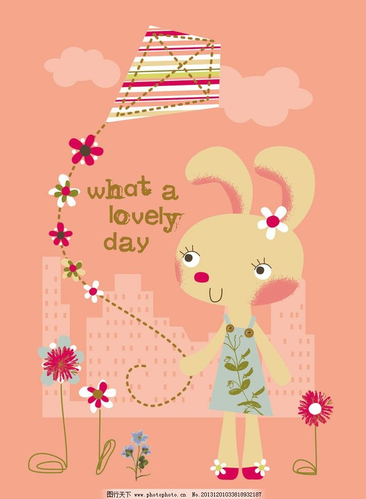 卡通印花 小兔子 兔子 动物卡通 卡通 t恤印花 儿童印花 服装印花