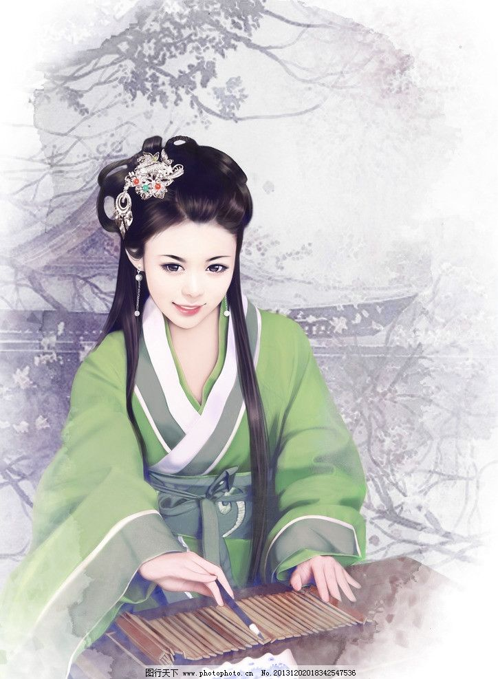手绘古代美女插画 后宫 妃子 宫女 写字 毛笔 水墨 动漫动画