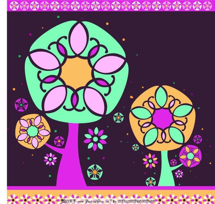 树木素材 艺术树木 艺术拼画 树干 树枝 曲线布局 矢量图 美术绘画
