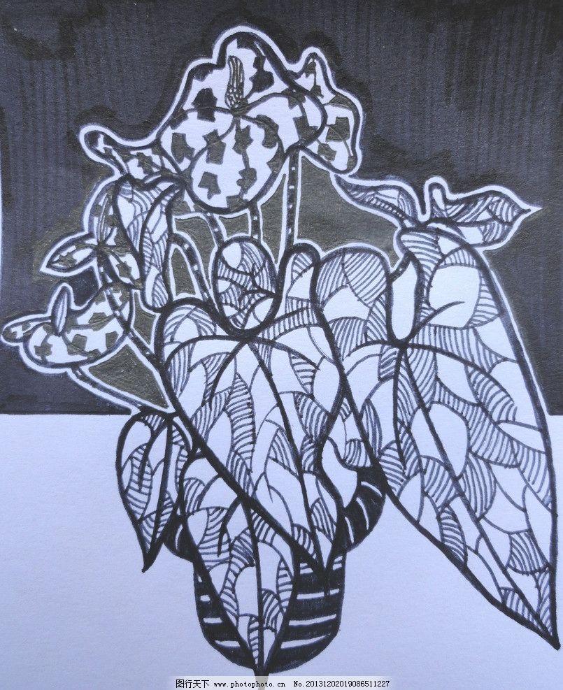 简单黑白花卉装饰画