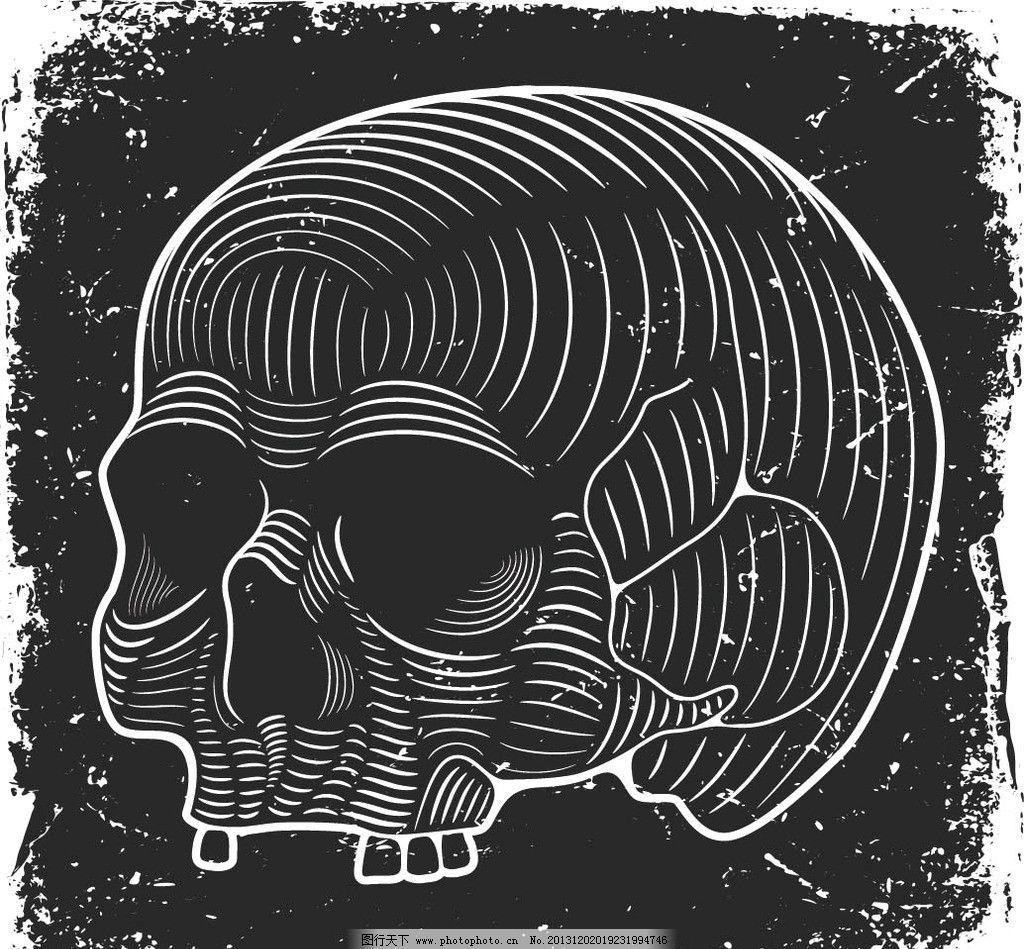 骷髅头 复古 欧式 残缺 恐怖 朋克 酷 万圣节 丝印 印花 烫画