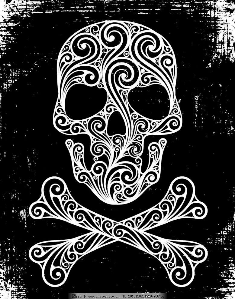 欧式花纹黑白线条图库