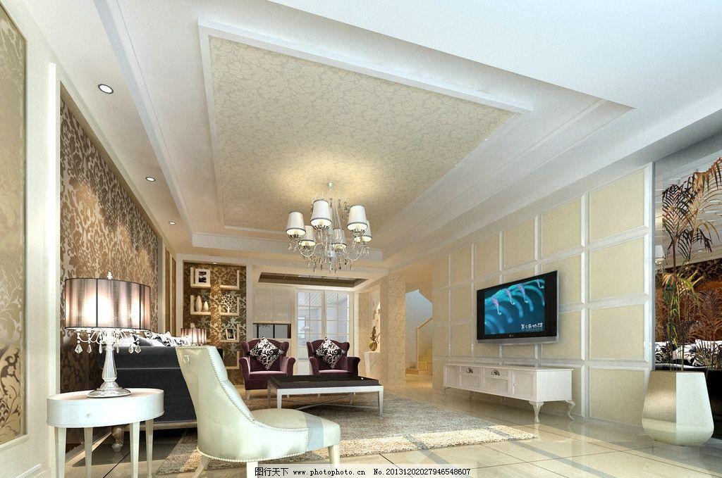 室内效果图 客厅 电视背景墙 灯 桌椅 沙发图片