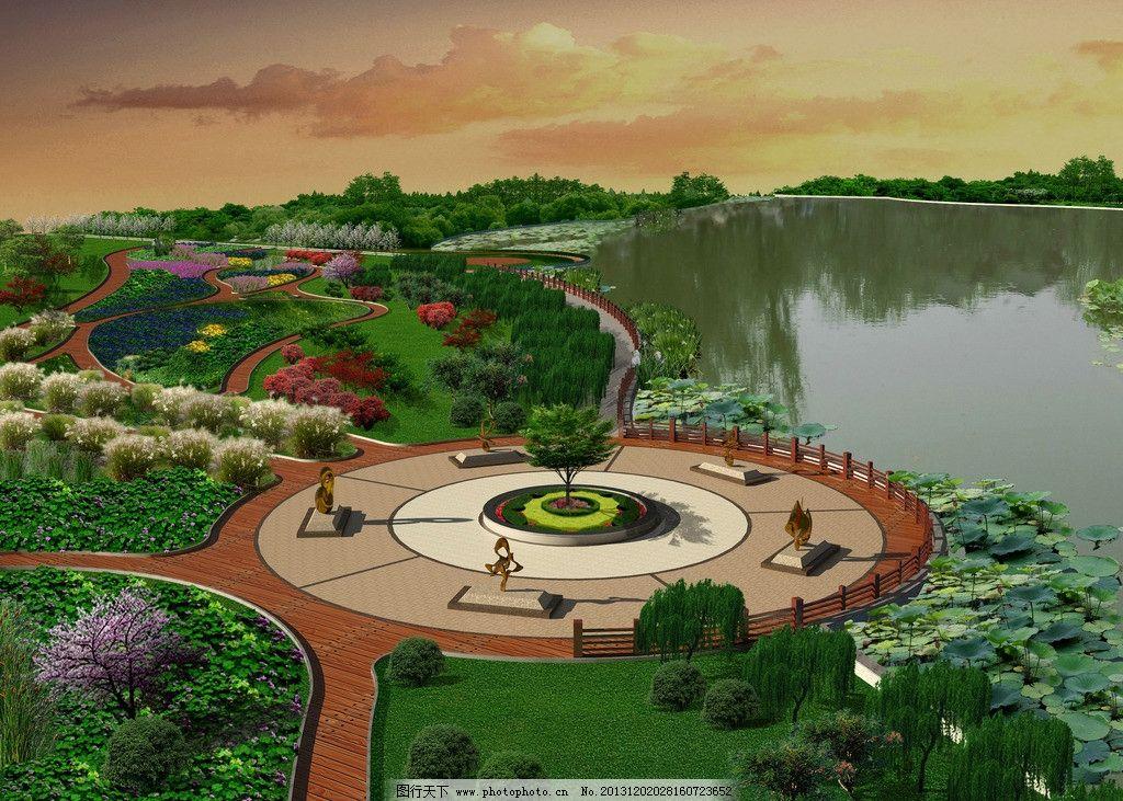 景观效果图 广场 雕塑 园林 绿化