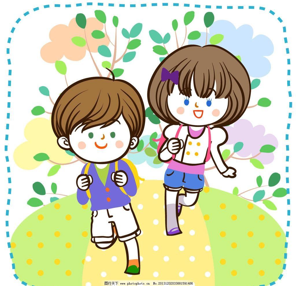 背书包上学的男孩女孩 树木 云朵 小路 插画 水彩 背景画 卡通