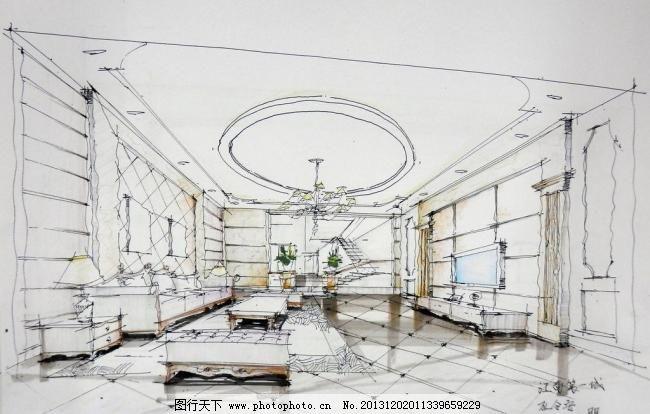 室内手绘图 别墅 客厅 欧式 室内设计 室内手绘图设计素材 室内手绘图