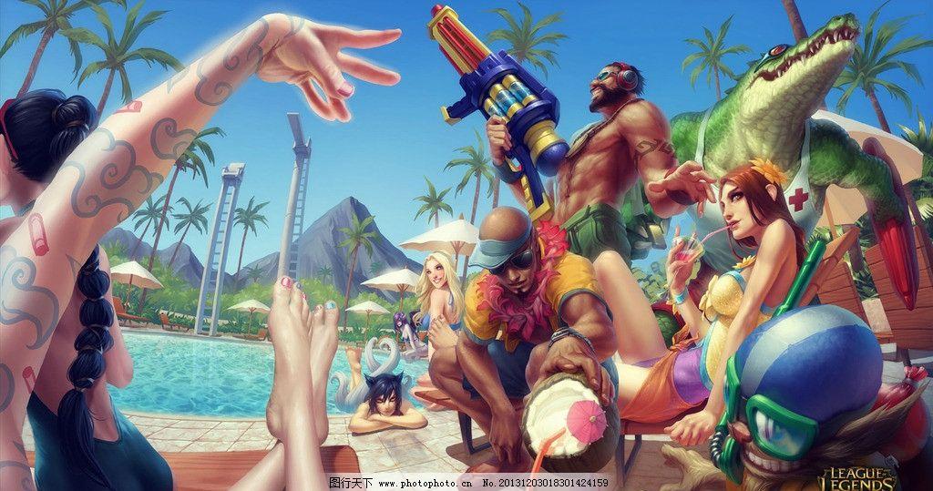 泳池派对 英雄联盟 lol 动漫 盲僧 鳄鱼 男枪 壁纸 动漫人物 动漫动画