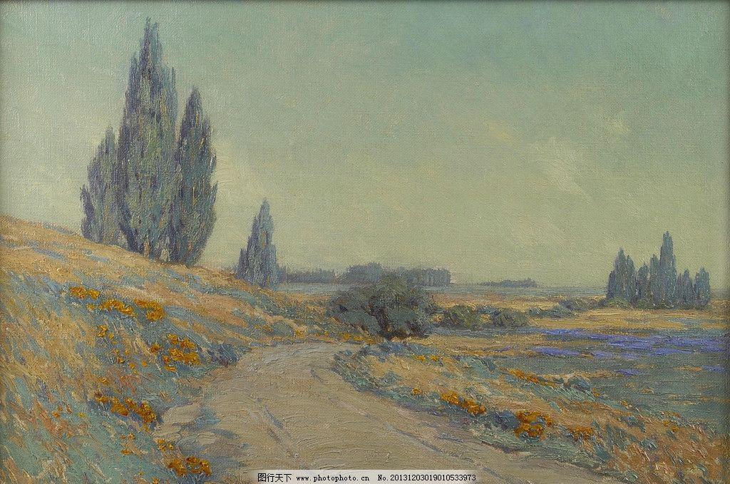 风景油画 油画 色彩 装饰画 风景画 绘画 印象派 冷色调 绘画书法