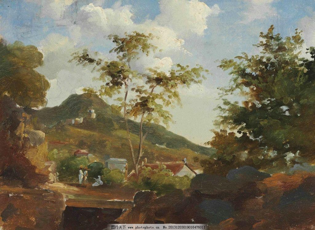 风景油画 油画 色彩 装饰画 风景画 绘画 森林 村庄 郊游 绘画书法
