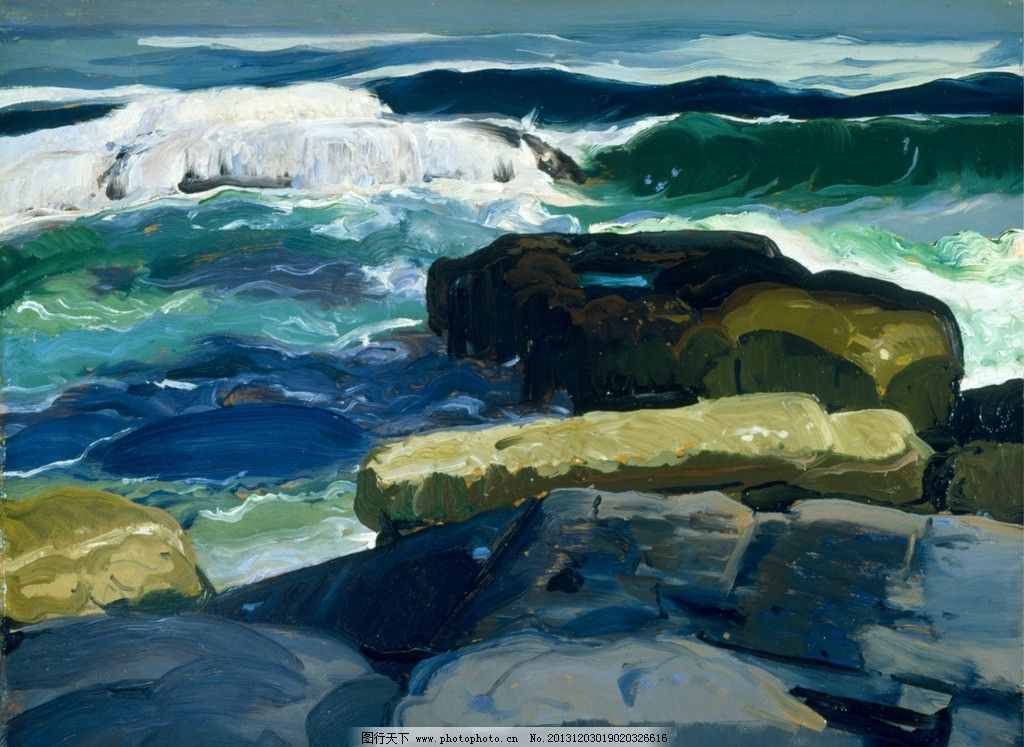 风景油画 油画 色彩 装饰画 风景画 绘画 大海 海洋 海浪 礁石 海边
