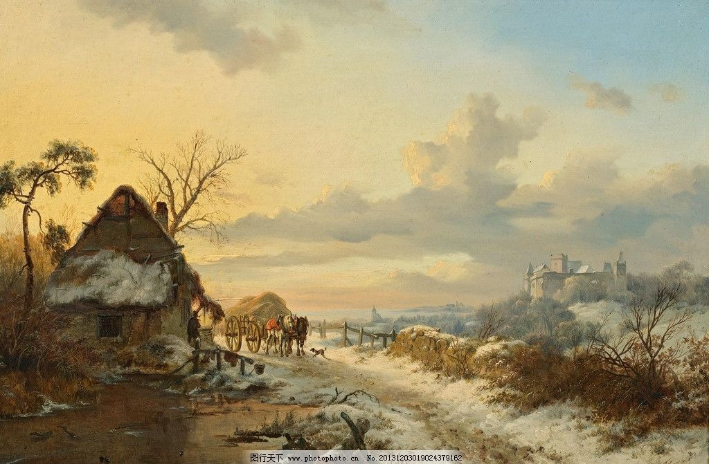 风景油画 色彩 风景画 绘画 雪 雪景 村庄 绘画书法 文化艺术