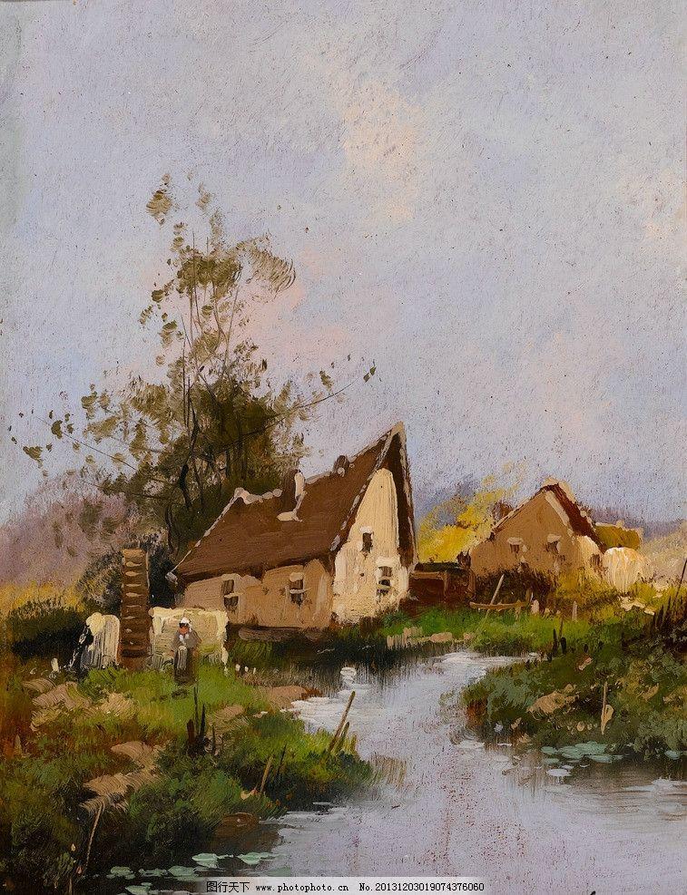 风景油画 油画 色彩 装饰画 风景画 绘画 农村 小屋 木屋 小河 绘画