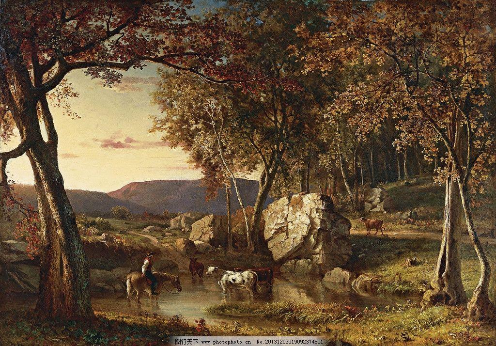 风景油画 油画 色彩 装饰画 风景画 绘画 森林 动物 巨石 岩石 绘画