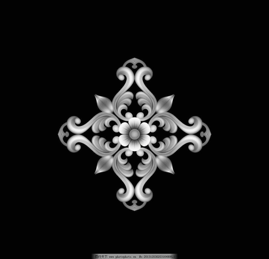 欧式 洋花 门花 杨花 浮雕 石雕 玉雕 木雕 灰度图 精雕图 花边花纹