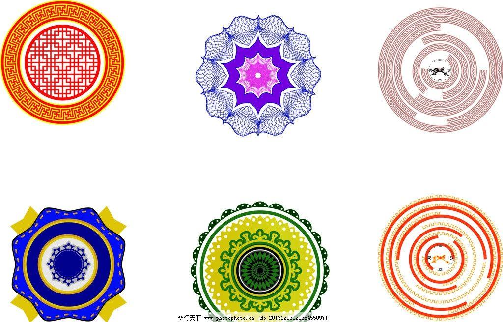 圆形图形 传统创意图形 圆形 花纹 底纹 矢量圆形 花纹花边 底纹边框