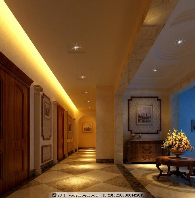 室内效果图 欧式 欧式走廊 茶几 大理石 壁画 装饰画 别墅 灯带