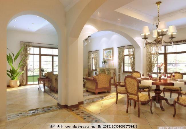 吊灯 吊顶 环境设计 别墅 餐厅 餐桌 椅子 沙发 窗户 吊顶 吊灯 柱子