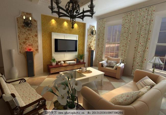 田园客厅 欧式 室内 室内设计 碎花 田园客厅设计素材 田园客厅模板下