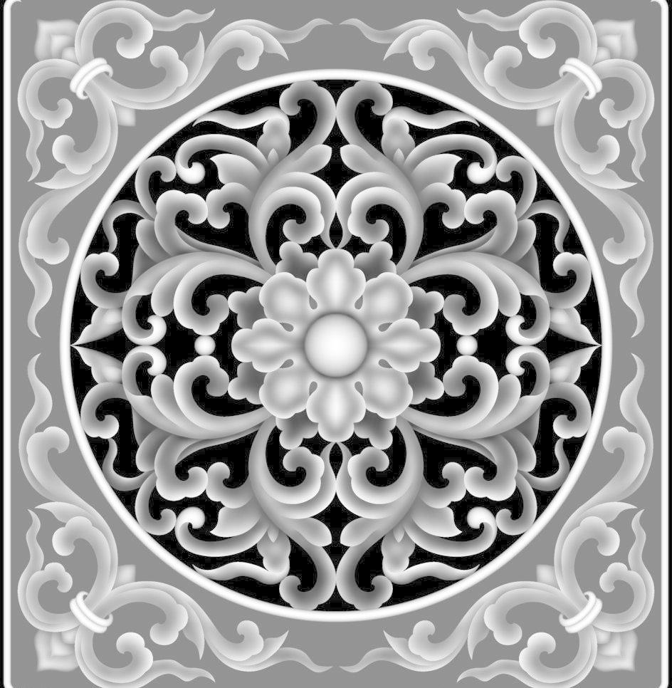 洋花模板下载 洋花 杨花 浮雕 石雕 玉雕 木雕 灰度图 精雕图 中式图片