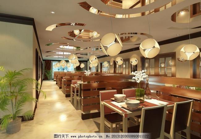 餐饮空间效果图 快餐店        室内设计 餐厅 桌椅 吊灯 3d作