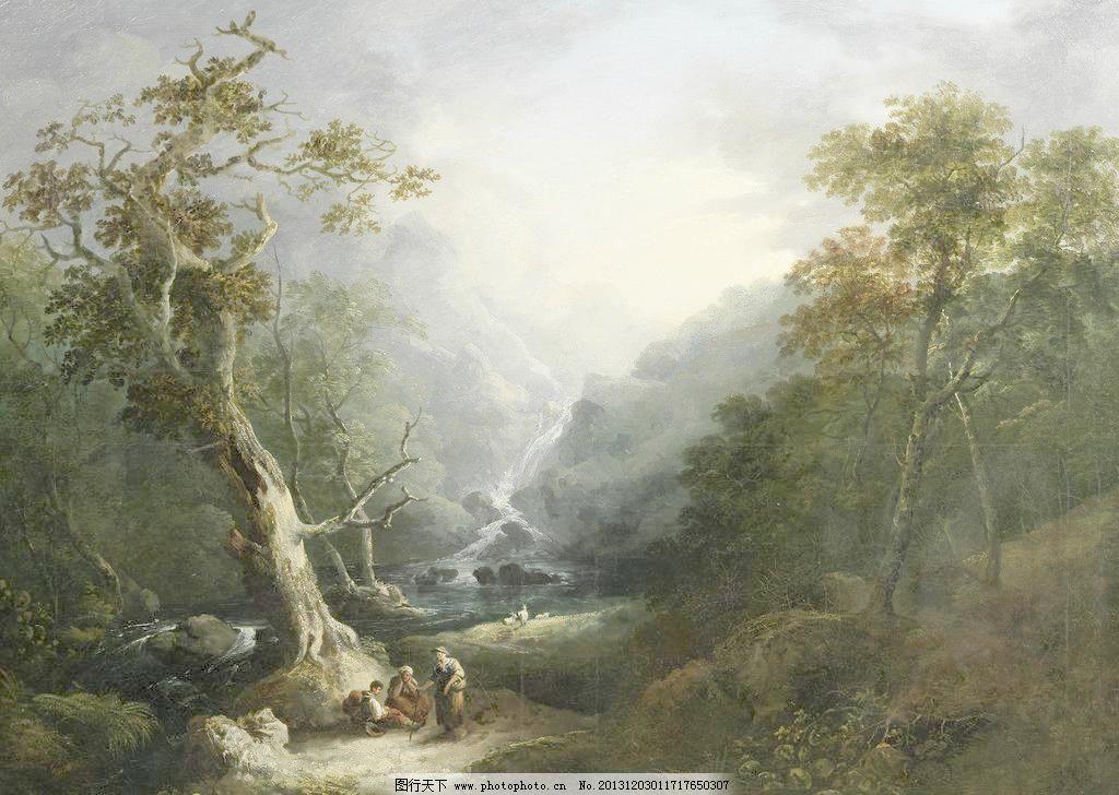 森林风景油画山水